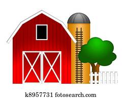 Red Barn with Grain Silo Illustration