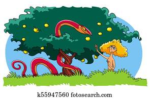 The Serpent tempts Eve to eat the forbidden fruit