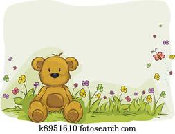Toy Bear Foliage Background