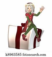 Christmas Elf sitting on present