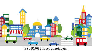 City life, streets, buildings, cars