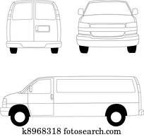 Delivery van line illustration
