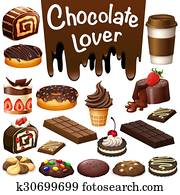 Different kind of dessert chocolate flavor