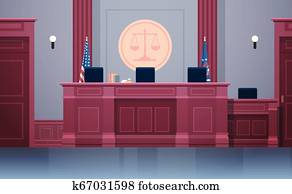empty courtroom with judge workplace chairs and table modern courthouse interior justice and jurisprudence concept horizontal