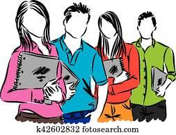 gesellschaft, von, studenten, abbildung