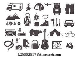 hiking,, camping, -, satz, von, heiligenbilder, und, elemente