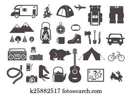 Hiking, camping - set of icons and elements