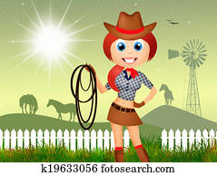 illustration of cowgirl