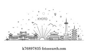 Kyoto vacation icons set. Vector icons set