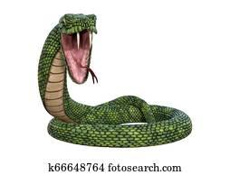 3D Rendering Giant Fantasy Snake on White