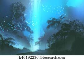 blue waterfall in forest, landscape