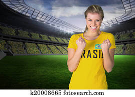 Excited football fan in brasil tshi