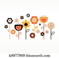 früher, frühjahrsblumen, sammlung, (, orange, und, braun, )