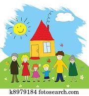 glücklich, family,, zeichnung kind, stil