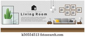 Interior design with table top and Modern living room background 1