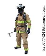 Modern firefighter in gear