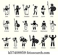 Ancient Greek Mythology Gods and Goddesses Characters Icon Set