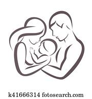 happy family stylized vector symbol, young parents and child