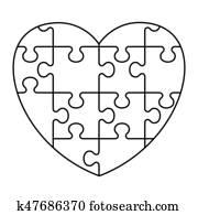 puzzel, herz, symbol