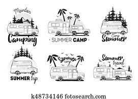Set of camping trailer logo. camper vans against landscape background with lettering mountain, summer camp, trip. Black and white composition collection.