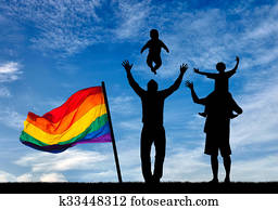 Silhouette of happy gay parents