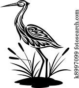 Heron on the bog landscape
