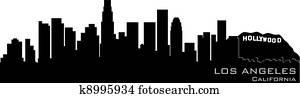 Los Angeles, California skyline. Detailed vector silhouette