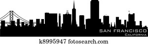 San Francisco, California skyline. Detailed vector silhouette