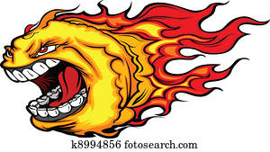 Screaming Fire Ball or Comet Vector