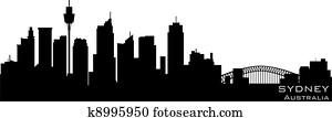 Sydney, Australia skyline. Detailed vector silhouette