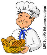 Baker with bread basket