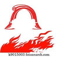 fire and fireman helmet