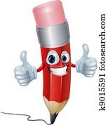 Pencil mascot man