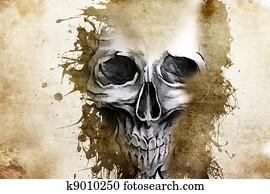 Tattoo evil design with skull