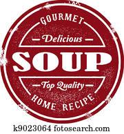 altmodisch, suppe, briefmarke