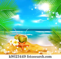 background of the sea, palm trees, coconut cocktail, sea