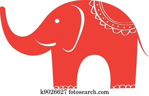 Indian elephant. Cute animal character.