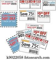 kaufmannsladen, verkauf, kupons, für, spareinlagen, anzeigen