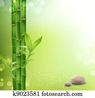 meditative, oriental background with bamboo and stones