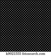 Seamless White Polka Dots on Black