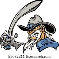 Civil War General Mascot with Sword