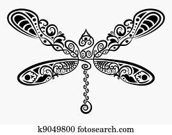 dekorativ, libelle