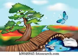 Wooden Bridge in Zen Landscape