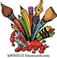 Art Supplies Vector Cartoon