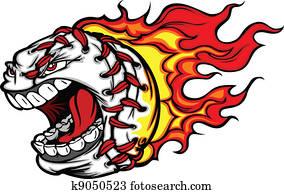 brennender, baseball, oder, schlagball, schrei