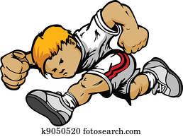 Cartoon Running Boy Vector Cartoon