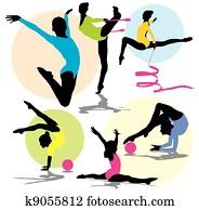 set rhythmic gymnastics silhouettes
