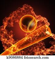 Baseball in fire