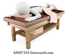 3D woman receiving hot stone massage
