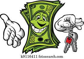 Cartoon Money and Hands with Car or House Keys Vector Cartoon Image
